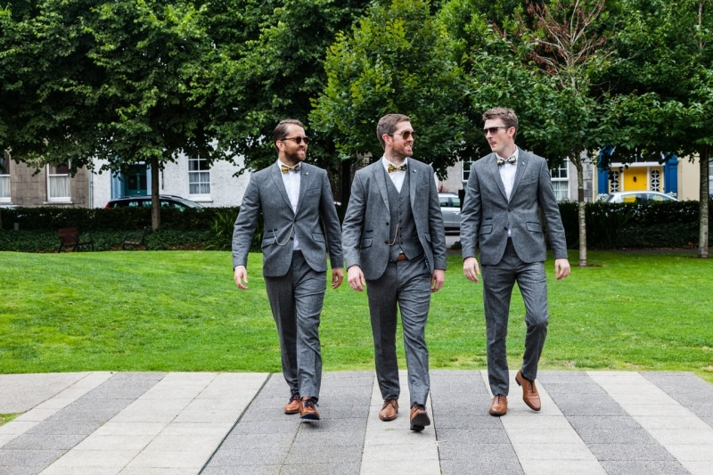 Groom and his groomsmen in Kennedy Gardens Clonakilty
